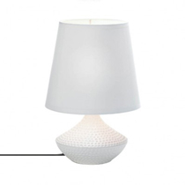 The dimpled white ceramic base of this modern table lamp is a work of art that also works to illuminate your space! Topped with an oversized white fabric shade, this mini lamp will cast your room in a perfect light.
