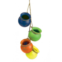 Four brightly colored terra cotta pots dangle from braided rope to brighten up your wall, indoors or out in the garden. These vibrant blue, green, orange and yellow pots feature worn finishes to make them look like vintage treasures.