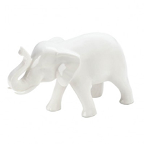 Elephants are often used as symbols of wisdom, strength and good luck, and this charming white elephant also brings great style. Made from ceramic and depicted with his trunk raised up, youll love having this sleek white elephant in your home.