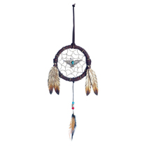 Give your dcor a whimsical touch with this decorative dreamcatcher. This large dreamcatcher features authentic feather detailing with a striking turquoise eagle charm in the center. Transform any room into an earthy oasis with this beautiful dreamcatcher decoration designed with faux leather and brushed metal accents.