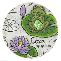 Personalize your garden with this enchanting garden frog stepping stone. The decorative stone features a whimsy color palate of green and purple that will look striking next to your garden greens.