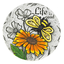 "Personalize your garden dcor with this cheerful sunflower stepping stone. The charming sunflower and bee print with the words ""Life is good"" add another beautiful touch and act as a gentle reminder to always count your blessings."