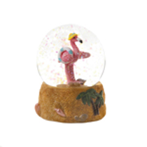 This cute flamingo is ready for a swim in the ocean! Palm trees and seashells decorate the base for a tropical island feel. Softly colored floating sparkles have a relaxing effect when it's turned upside down. You're never too old to enjoy a snow globe!