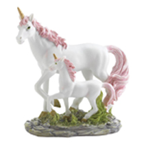 Side by side this mother and baby are in perfect harmony. Finely painted with pink and gold details, this spirited pair prance in the open green meadows. It's an enchanting gift for fairy art collectors and enthusiasts.