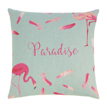 Add a bit of whimsical fun to your reading nook, bed or sofa with our floating feathers flamingo pillow! Hot fuchsia set against the calming teal is sure to add vibrancy and joyful eccentricity to any room in your home! Zippered cover for easy removal and cleaning. Machine wash cold. Do not bleach. Do not tumble dry. Iron low heat.