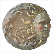 Intricate details lend astral glory to this starry stone-look moon and sun plaque.